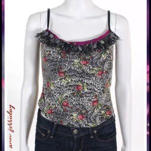 ANN FERRIDAY Blk/Wht Floral Sequin Detail Trim Top